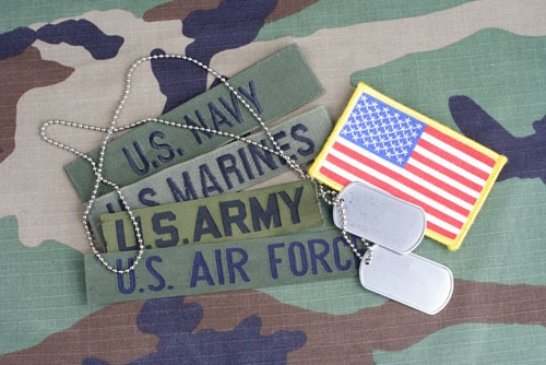 Patches for the US Navy, US Marines, US Army, US Air Force, the American Flag, and dog tags.